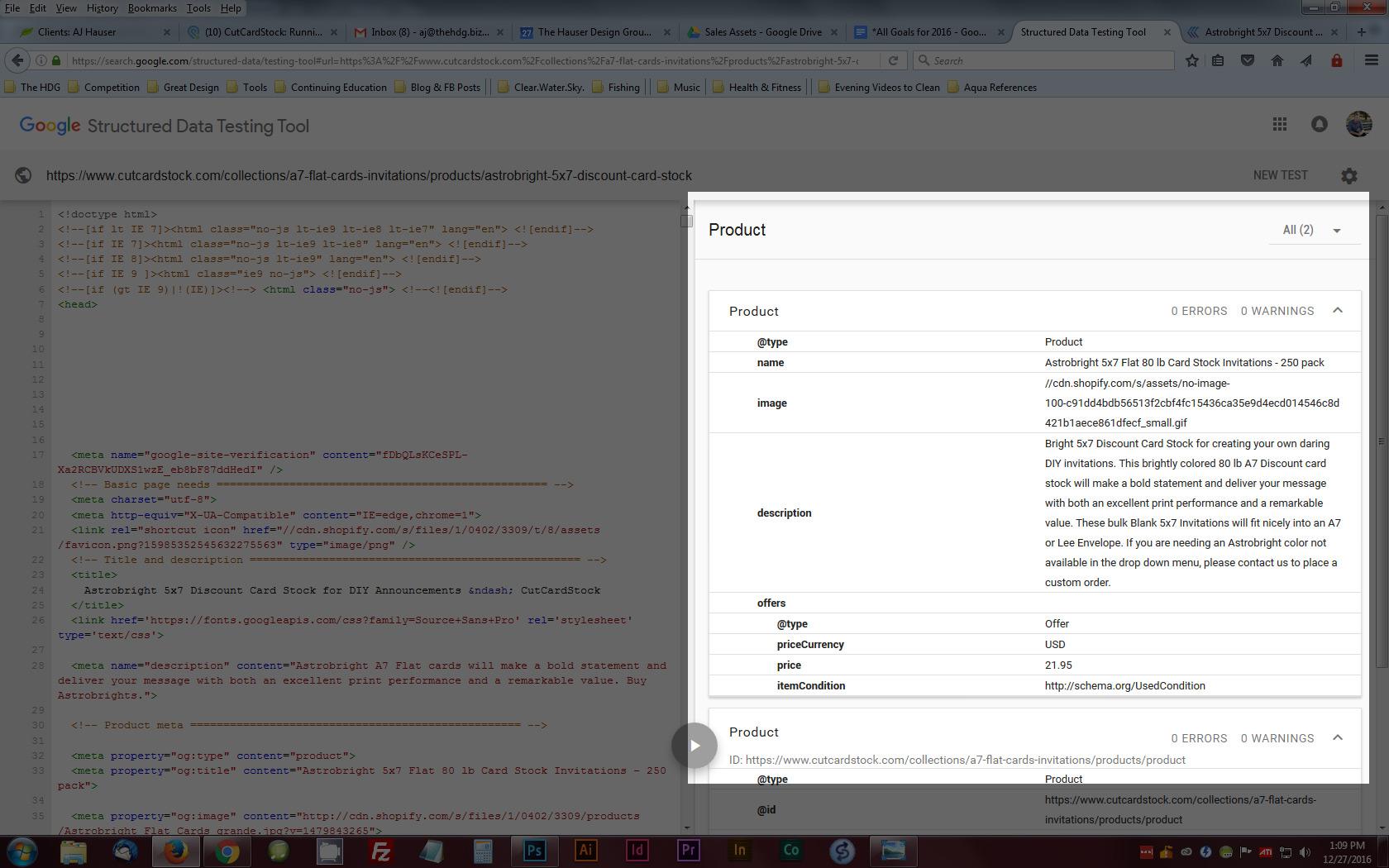 CutCardStock Proper Structured Data